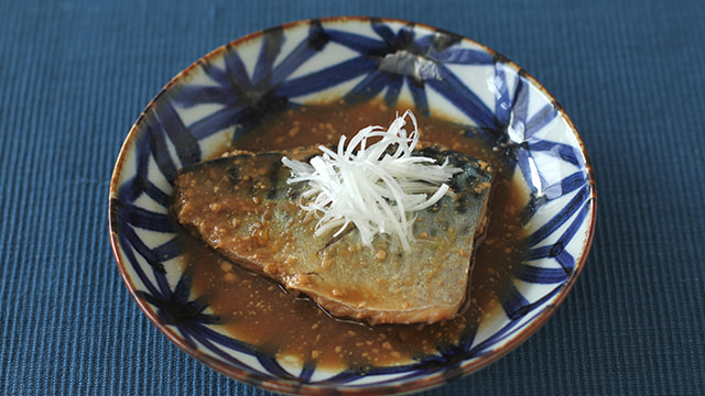 Mackerel cooked in a miso sauce