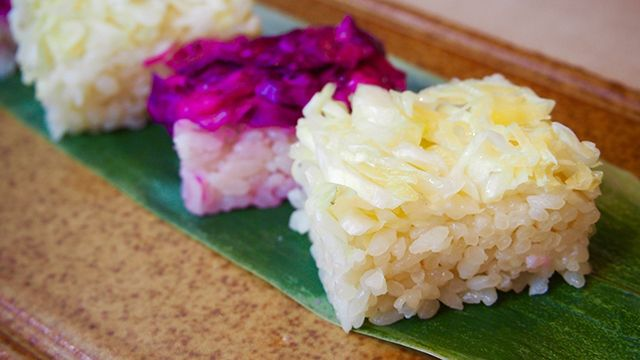Bicolored Oshi (Pressed) Sushi of Cabbage